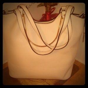 New White Leather Handbag w/ Black lining.